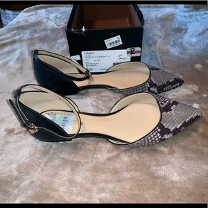 COACH JAMESON LUX SNAKE POINTED FLATS SHOES W 9